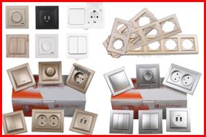 Розетки, выключатели, механизмы и рамки